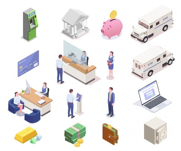 Sammlung finanzieller isometrischer ikonen des bankwesens mit sechzehn isolierten bildern von bankangestellten-kundengeld- und fahrzeugvektorillustration Kostenlosen Vektoren