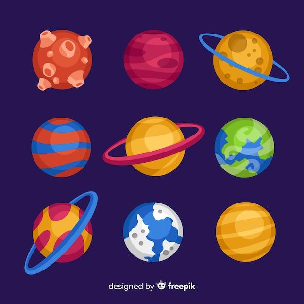 Sammlung flache designplaneten Kostenlosen Vektoren