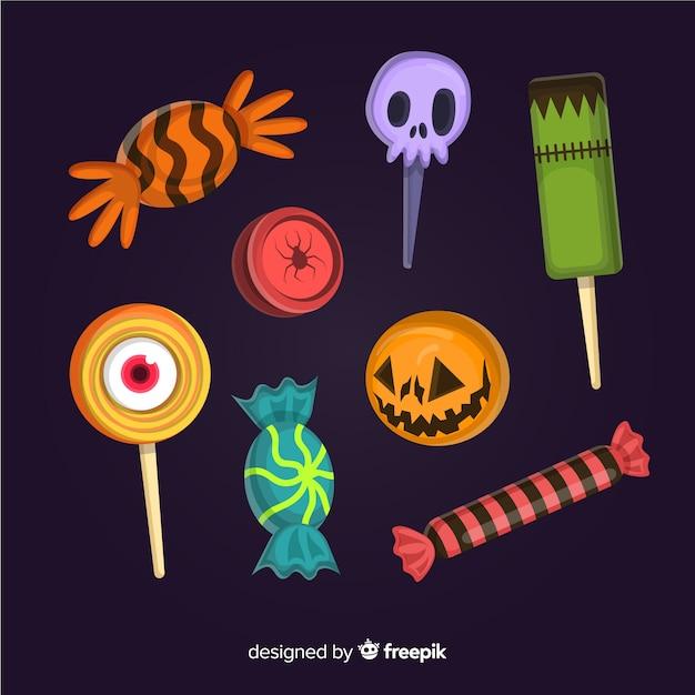 Sammlung flache halloween-bonbons Kostenlosen Vektoren