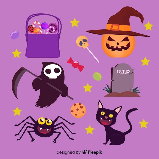 Sammlung flache halloween-elemente Kostenlosen Vektoren