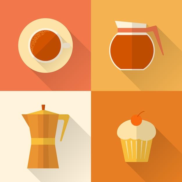 Sammlung flache kaffeeikonen Premium Vektoren