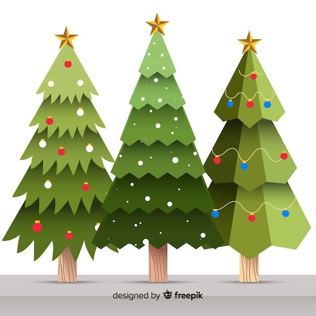 Sammlung flacher weihnachtsbäume Kostenlosen Vektoren