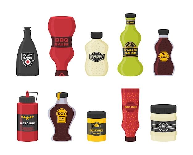 Sammlung flasche und schüssel sauce zum kochen isoliert auf weißem hintergrund. set aus verschiedenen flaschen mit saucen - ketchup, senf, soja, wasabi, mayonnaise, grill in flachem design. illustration. Premium Vektoren
