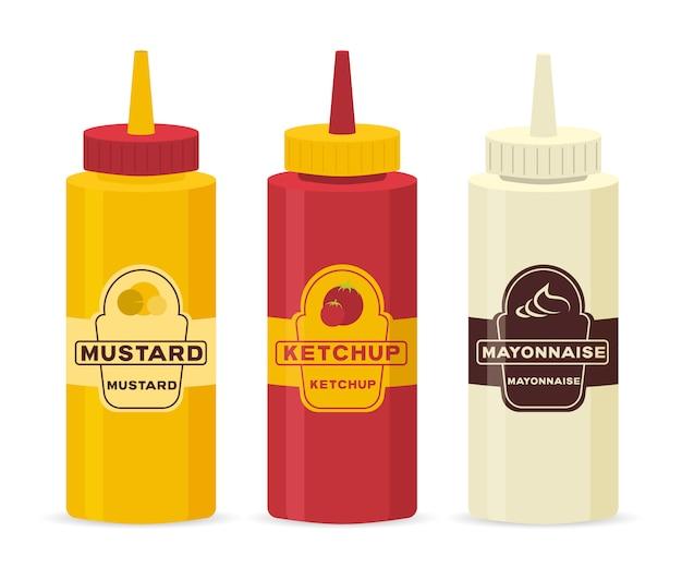 Sammlung flasche und schüssel sauce zum kochen lokalisiert auf weißem hintergrund. set aus verschiedenen flaschen mit saucen - ketchup, senf, soja, wasabi, mayonnaise, grill in flachem design. illustration. Premium Vektoren