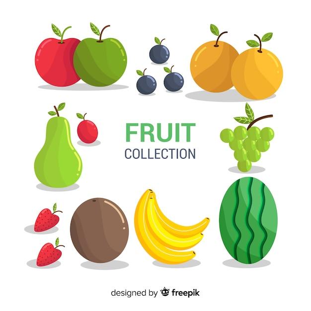 Sammlung frischer früchte mit flachem design Kostenlosen Vektoren