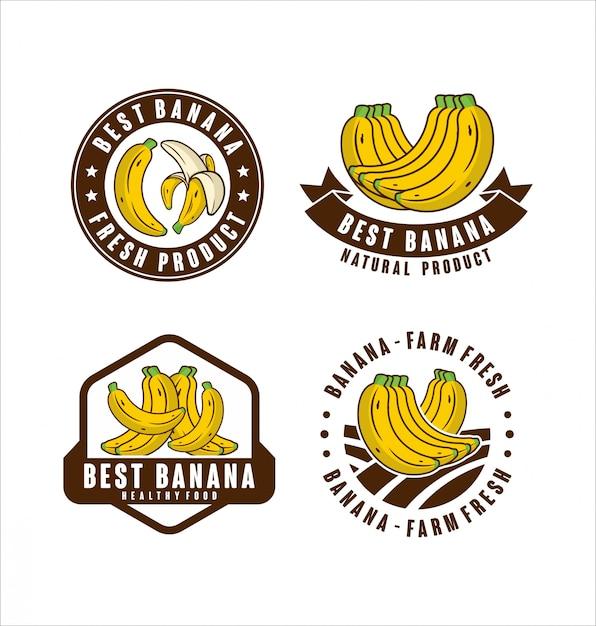 Sammlung frischer naturproduktetiketten der bananenfarm sammlung Premium Vektoren