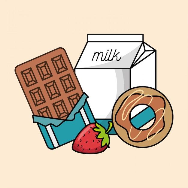 Sammlung frühstück schokolade erdbeer-donut und milch Kostenlosen Vektoren