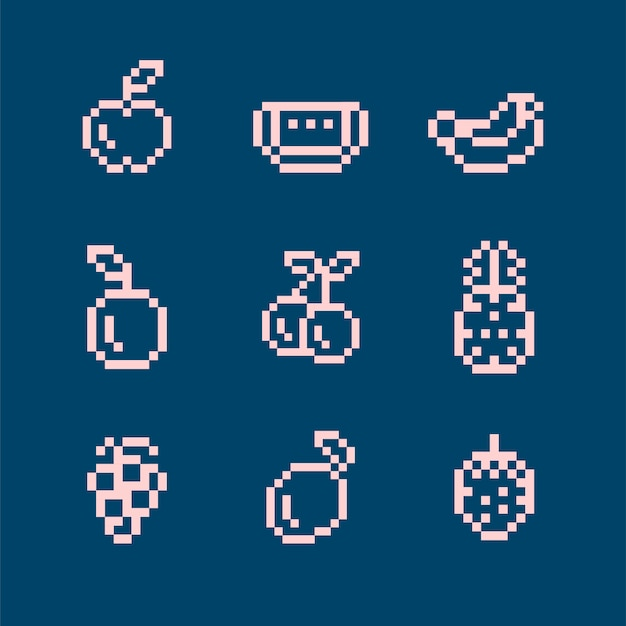 Sammlung gemischte pixelated früchte Kostenlosen Vektoren