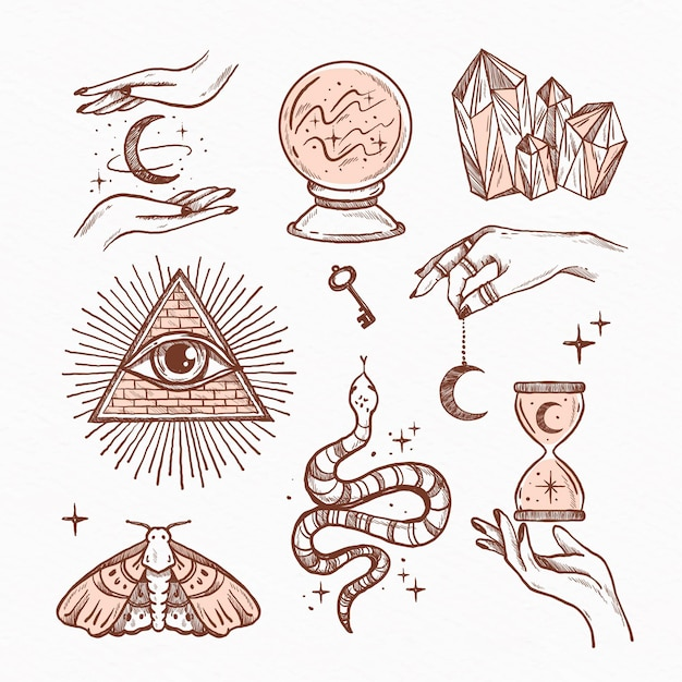 Sammlung gezeichneter esoterischer elemente Kostenlosen Vektoren
