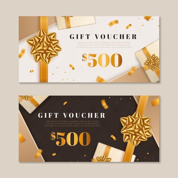 Sammlung goldener geschenkgutscheine Kostenlosen Vektoren