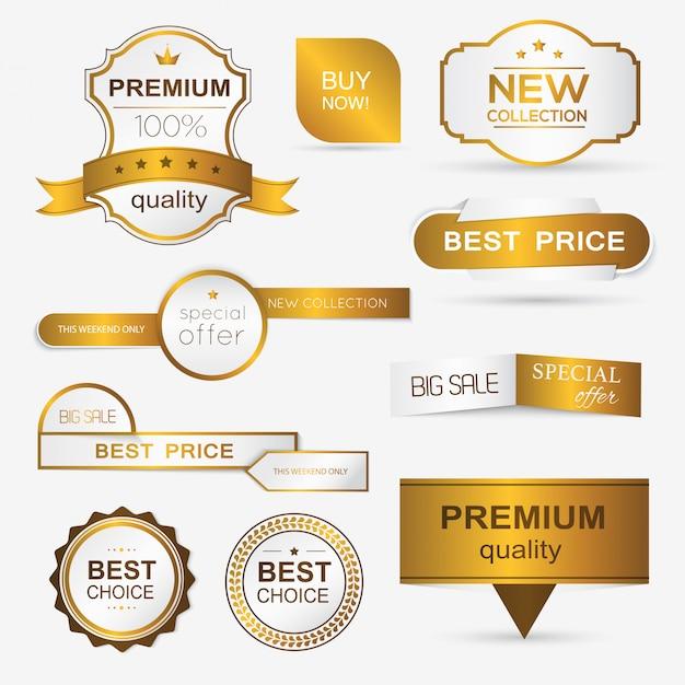 Sammlung goldener premium-promo-siegel / aufkleber. Premium Vektoren