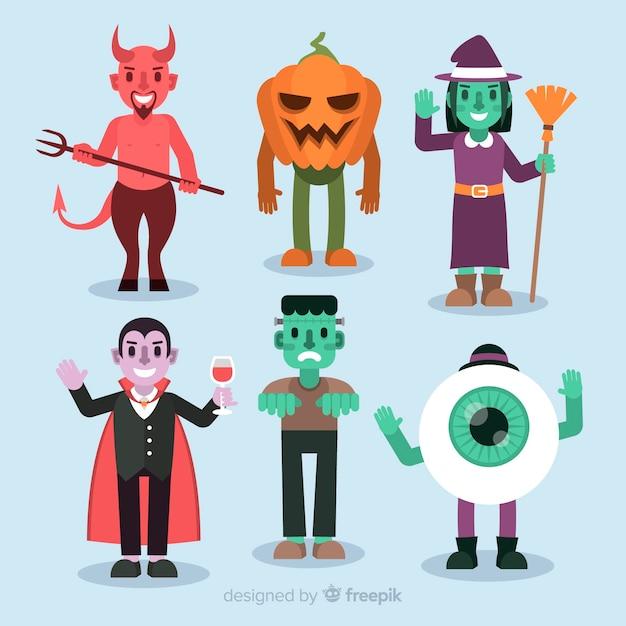 Sammlung halloween-charaktere auf flachem design Kostenlosen Vektoren