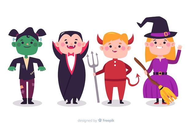 Sammlung halloween-kinder in den kostümen Kostenlosen Vektoren