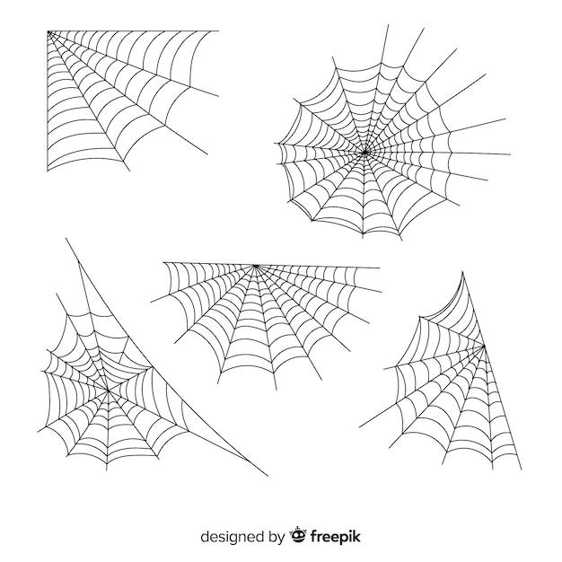 Sammlung halloween-spinnennetze Kostenlosen Vektoren