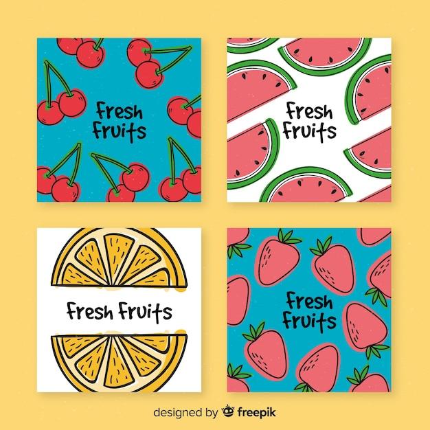 Sammlung hand gezeichnete fruchtkarten Kostenlosen Vektoren