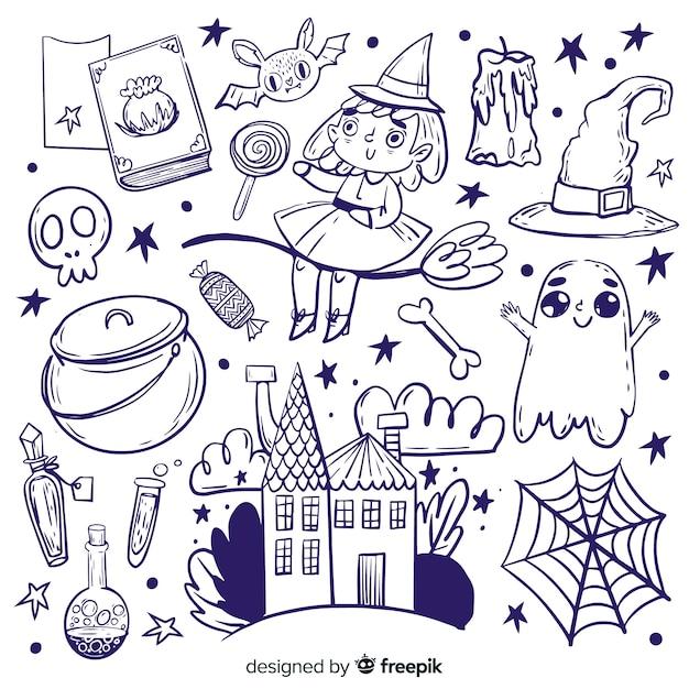 Sammlung hand gezeichnete halloween-elemente Kostenlosen Vektoren