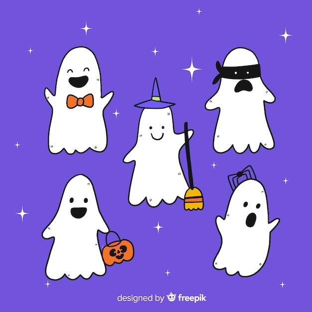 Sammlung hand gezeichnete halloween-geister Kostenlosen Vektoren
