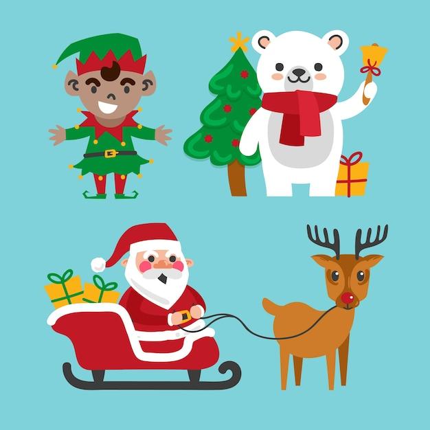 Sammlung hand gezeichnete weihnachtscharaktere Kostenlosen Vektoren