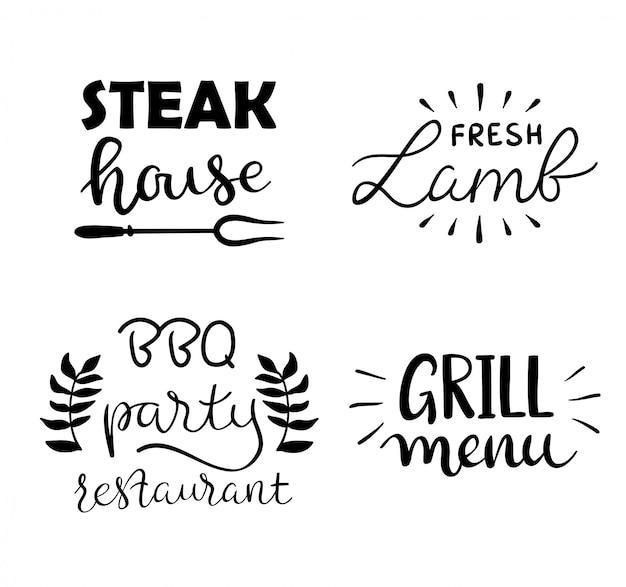 Sammlung hand gezeichneter text des gegrillten lebensmittels, der würste, des huhns, der pommes-frites, der steaks, des fisches Kostenlosen Vektoren