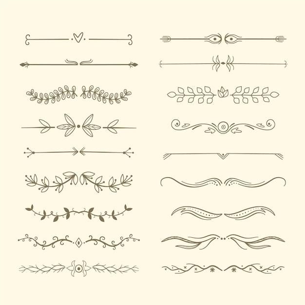 Sammlung handgezeichnete arten von rahmen und trennwänden Kostenlosen Vektoren