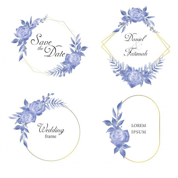 Sammlung hochzeitseinladungsrahmen mit blauen rosen und blättern in einer aquarellart Premium Vektoren