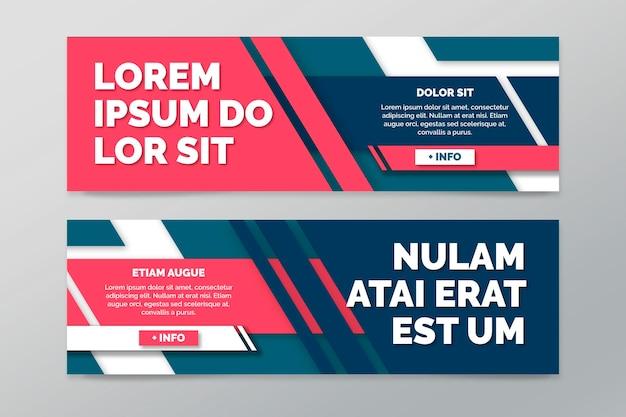 Sammlung horizontaler banner mit geometrischen linien Kostenlosen Vektoren