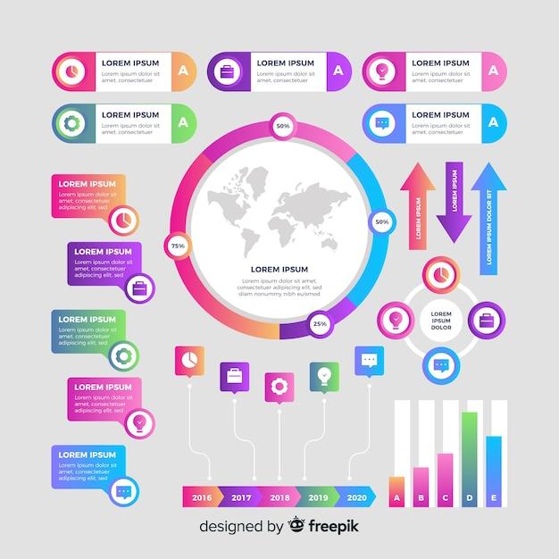 Sammlung infographic elemente der steigung Kostenlosen Vektoren