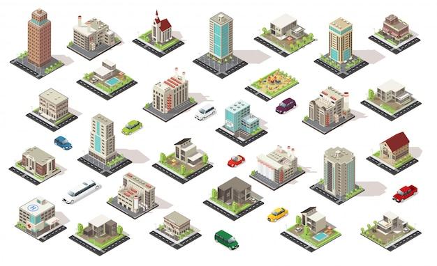 Sammlung isometrischer stadtelemente Kostenlosen Vektoren