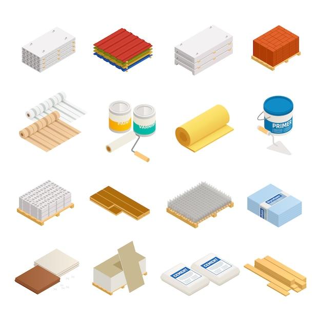 Sammlung isometrischer symbole für baumaterialien mit 16 isolierten bildern mit hardware und baumaterial Kostenlosen Vektoren