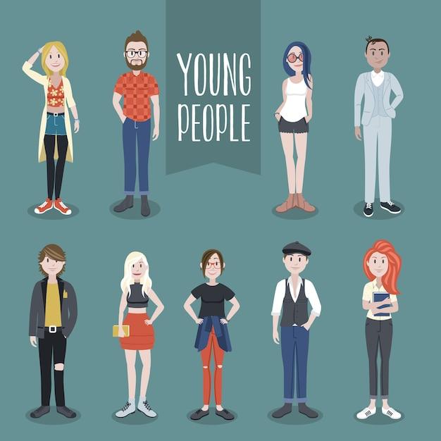 Sammlung junger leute Premium Vektoren