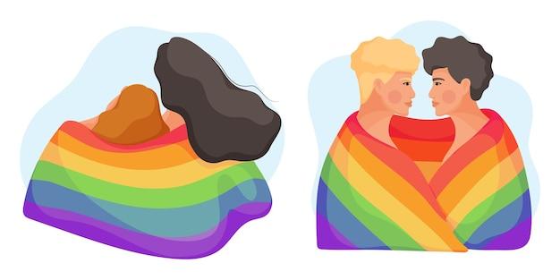 Sammlung junger paare, die mit regenbogenfahne umarmen. konzept der gleichberechtigung für die lgbt-gemeinschaft. illustration. Premium Vektoren