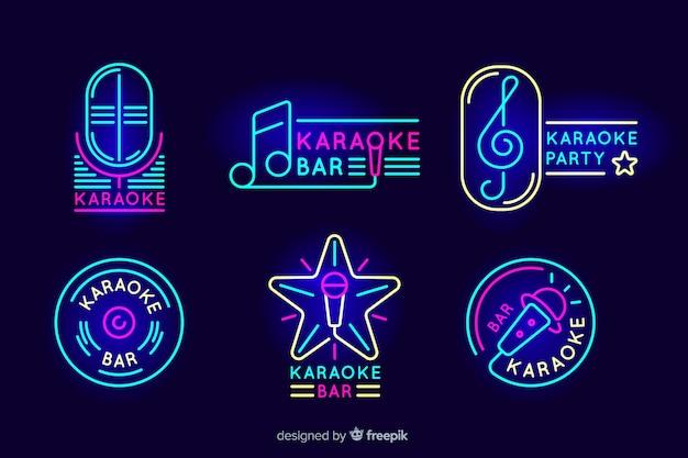 Sammlung karaoke-neonlichter Kostenlosen Vektoren