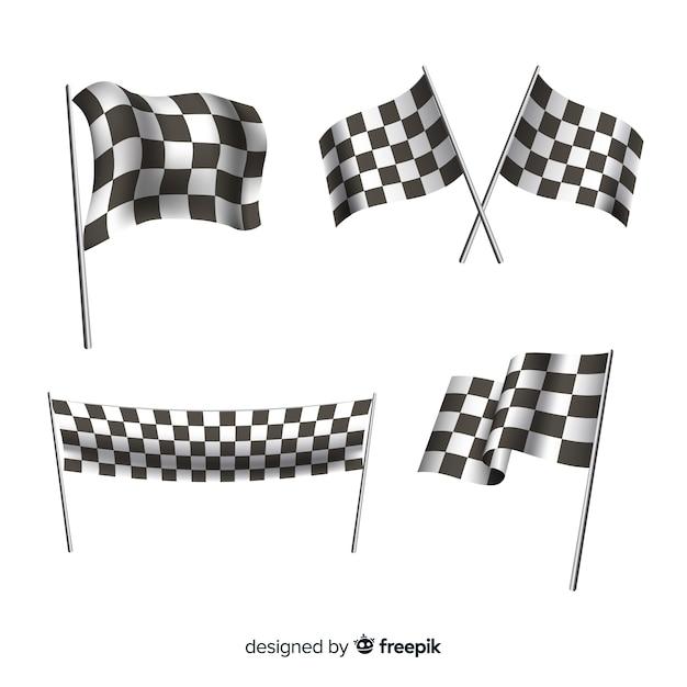 Sammlung karierte flaggen Premium Vektoren