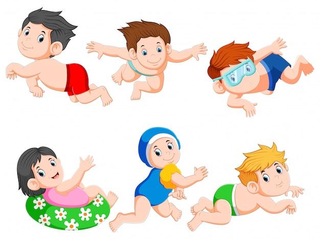Sammlung kinder, die sammlungssatz schwimmen Premium Vektoren