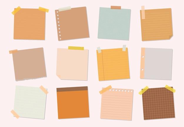 Sammlung klebrige anmerkungsillustrationen Kostenlosen Vektoren