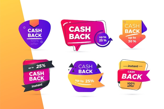 Sammlung kreativer cashback-labels Kostenlosen Vektoren