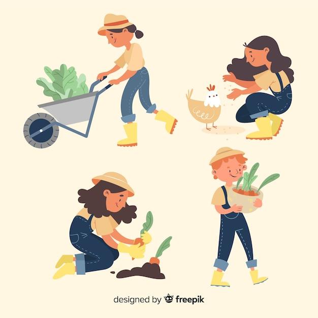 Sammlung landwirte, die veranschaulicht arbeiten Kostenlosen Vektoren