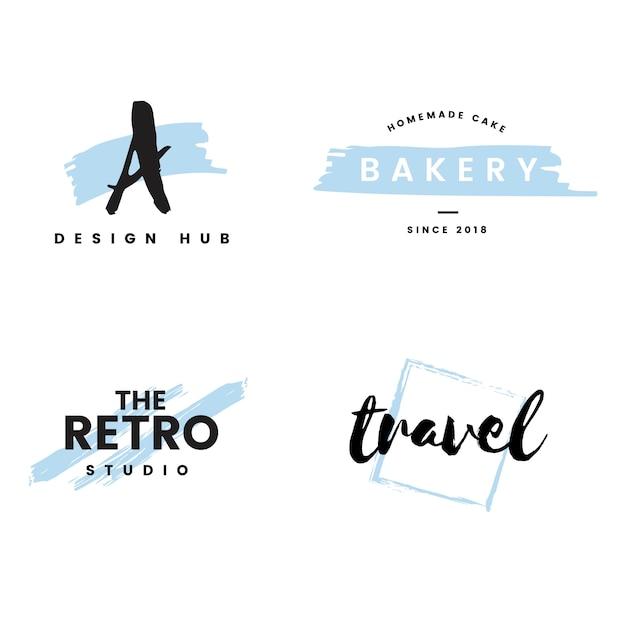 Sammlung logos und einbrennender vektor Kostenlosen Vektoren