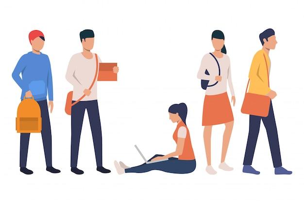 Sammlung moderner studenten mit taschen Kostenlosen Vektoren