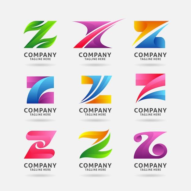 Sammlung modernes logodesign des buchstaben z Premium Vektoren