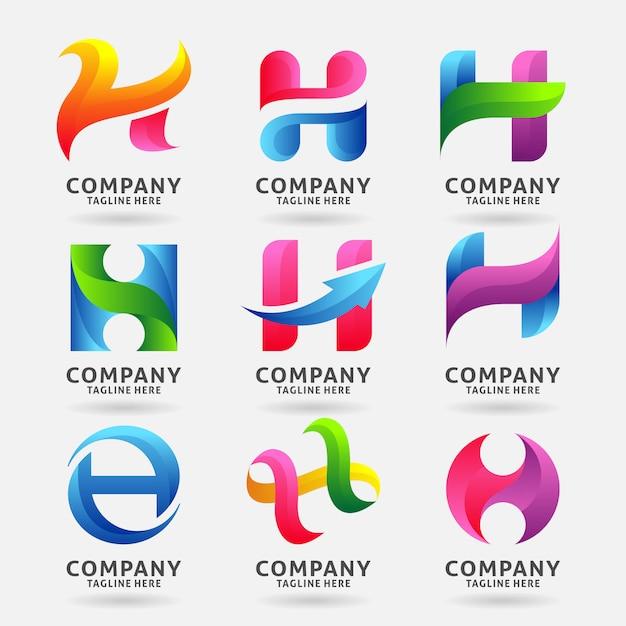 Sammlung modernes logoschablonendesign des buchstaben h Premium Vektoren