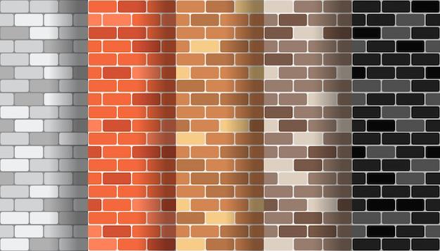 Sammlung nahtlose musterbeschaffenheiten der backsteinmauer eingestellt Premium Vektoren