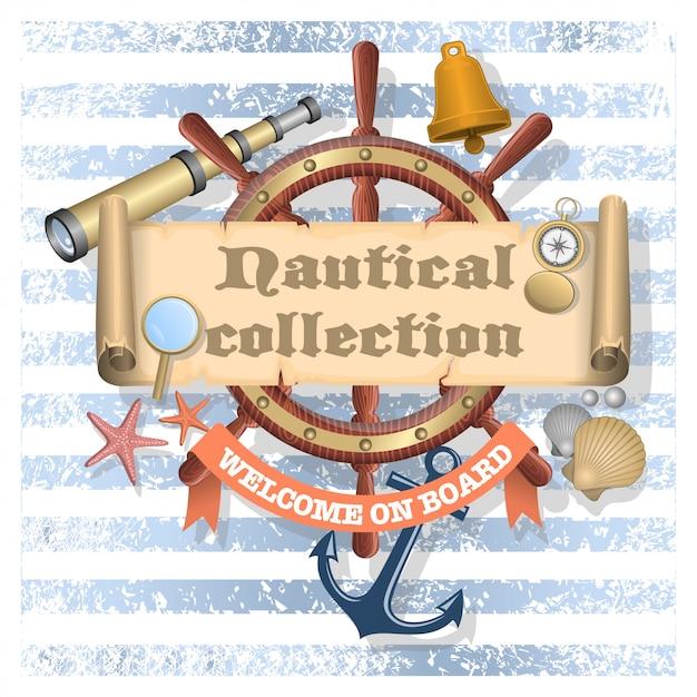 Sammlung nautisch gestalteter elemente Kostenlosen Vektoren