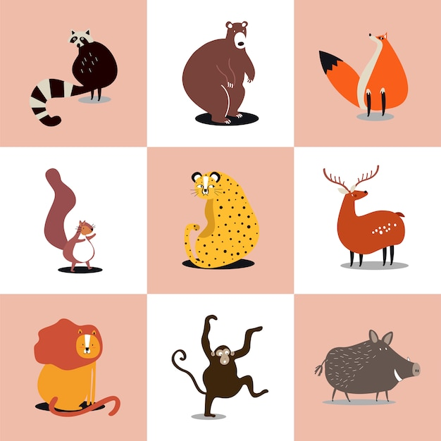 Sammlung nette abbildungen der wilden tiere Kostenlosen Vektoren