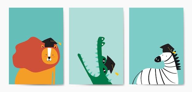 Sammlung nette tiere im karikaturartvektor Kostenlosen Vektoren