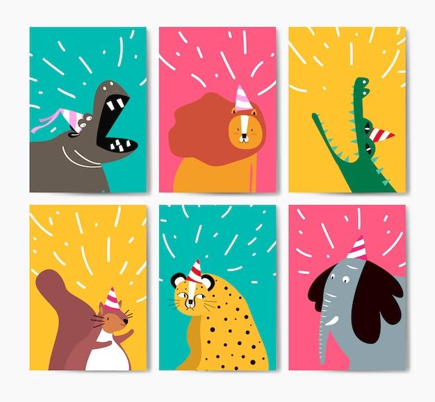 Sammlung nette tiere in der partyhutkarikatur Kostenlosen Vektoren