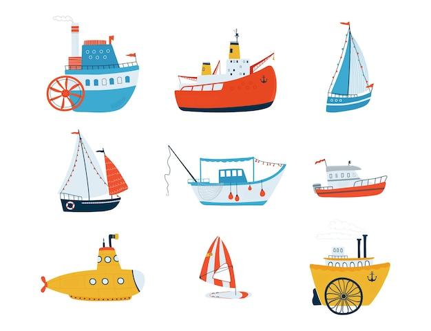 Sammlung niedliche schiffe lokalisiert auf weißem hintergrund Premium Vektoren