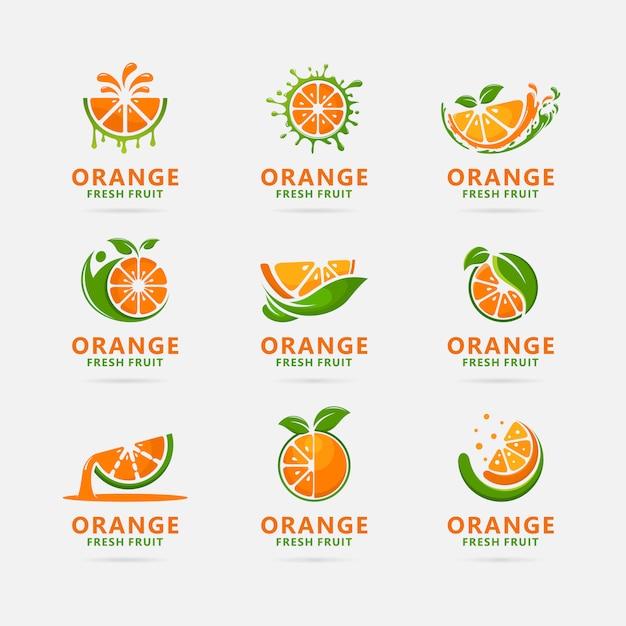 Sammlung orange fruchtzeichenauslegung Premium Vektoren