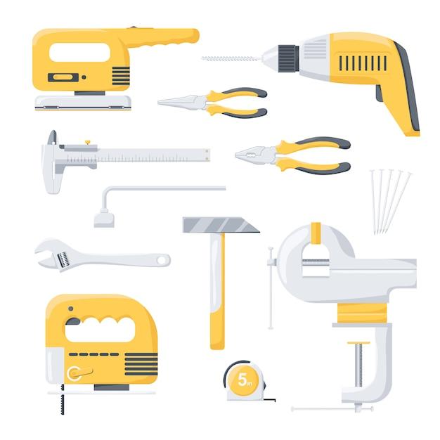 Sammlung reparaturarbeiterwerkzeuge der elektrischen und mechanischen energie. elektrowerkzeuge. handwerkzeuge. Premium Vektoren