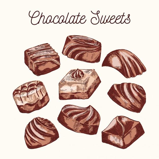 Sammlung schokoladenbonbons Premium Vektoren